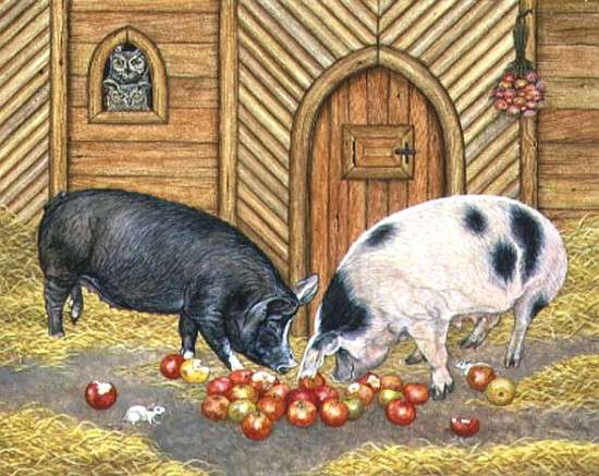 noah 39 39 s pigs 1997 acrylic on panel ditz als kunstdruck oder handgemaltes gem lde. Black Bedroom Furniture Sets. Home Design Ideas