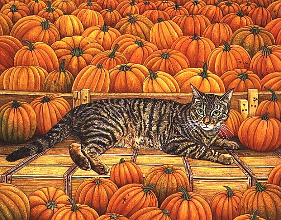 the pumpkin cat 1995 acrylic on panel ditz als kunstdruck oder handgemaltes gem lde. Black Bedroom Furniture Sets. Home Design Ideas