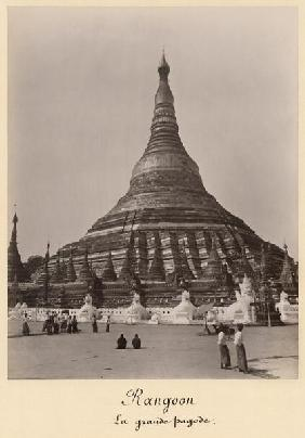 The Shwedagon Pagoda at Rangoon, Burma, c.1860 (albumen print) (b/w photo)