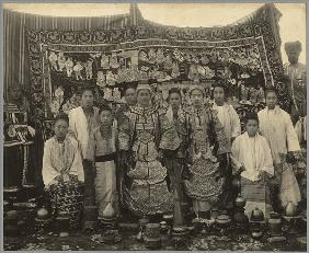 Theatre company, Burma, c.1910 (b/w photo)