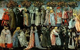 The Last Judgement, detail of the predella panel depicting Paradise, 1460-65 (detail of 218797)