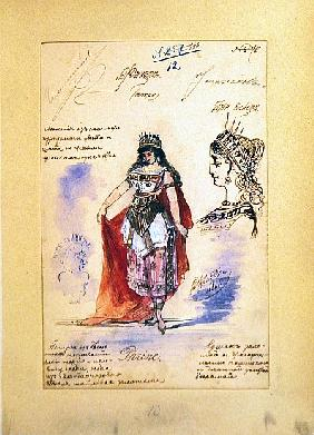 Costume designs for the role of Phrine in the opera ''Faust'', Charles Gounod (1818-93) 1882