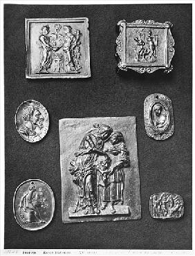 Plaques depicting Hermes and Abundance, Apollo, Judith and her Servant, Attila the Hun (395-453) (br