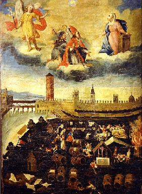Votive banner depicting the plague in Trento in 1636