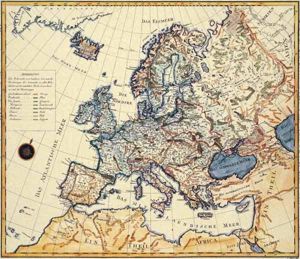 neue karte von europa 1787 jakob als kunstdruck oder handgemaltes gem lde. Black Bedroom Furniture Sets. Home Design Ideas