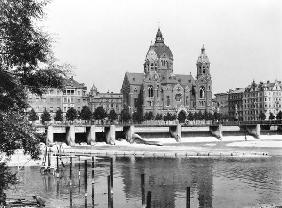 The river Isar at Munich, c.1910 (b/w photo)