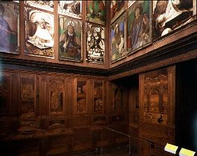 The Study of Federigo da Montefeltro, Duke of Urbino: intarsia panelling depicting open cupboards an
