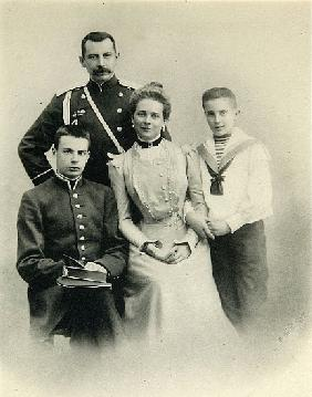Family portrait of Princess Zenaida Yusupova, Count Felix Sumarokov-Elston and sons Nikolai and Feli