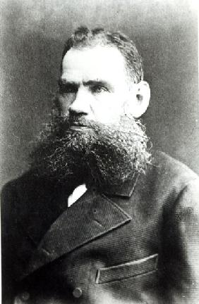 Portrait of Lev Nikolaevich Tolstoy (b/w photo)