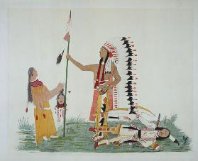 Comanche and his wife encounter and fight with a Ute, from a series of legendary episodes painted by