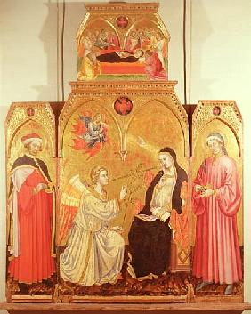The Annunciation with St. Cosmas and St. Damian, 1409 (gold leaf & tempera on panel)