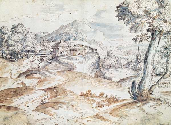 Wooded landscape with village and church (wash & ink on paper)