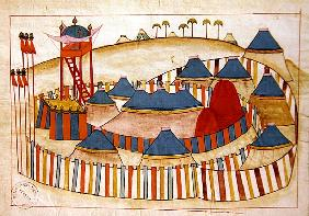 Ms. cicogna 1971, miniature from the ''Memorie Turchesche'' depicting a Turkish camp with look-out t