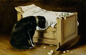 Dog Mourning Its Little Master 1866