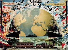 'Voyage Around the World', poster for the 'Compagnie Generale Transatlantique', late 19th century (c 1896