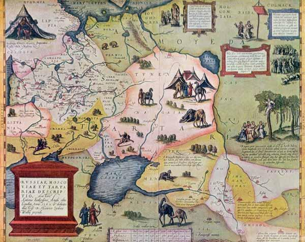 Map of the Russian empire in the sixteenth century, copy of an original of 1571 (colour litho) 1876