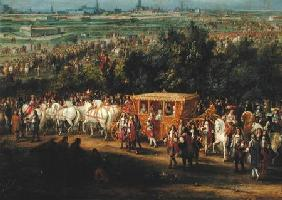 The Entry of Louis XIV (1638-1715) and Marie-Therese (1638-83) of Austria in to Arras, 30th July 166 c.1685