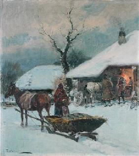 Sleighs in Front of a House 1930