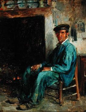 A Peasant in Front of a Hearth 1859