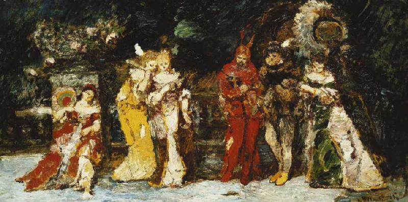 Darsteller auf einer terrasse mit faust adolphe jos th monticelli als kunstdruck oder - Faust wandfarbe ...
