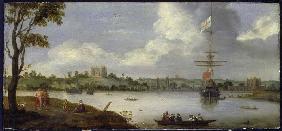 Blick-von-Nordosten-auf-den-GreenwichPalast--mit-einem-Kriegsschiff-vor-Anker