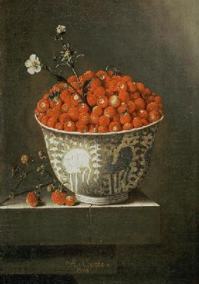 Still Life with Wild Strawberries in a Chinese Bowl