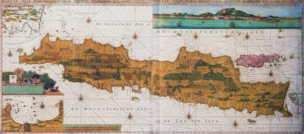 Insulae lavae, a large folding map of Java with two insets both depicting views of Batavia (Jakarta) 1473