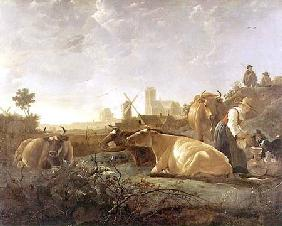 A Distant View of Dordrecht with Sleeping Herdsman and Five Cows ('The Small Dort') c.1650-52