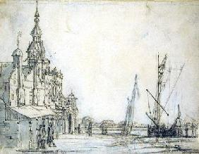 View of the Groothoofdspoort from the north-east, Dordrecht 1618