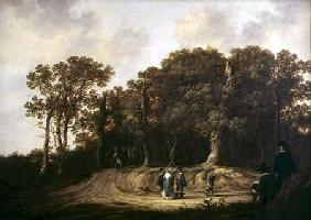 A Wooded Landscape with the Artist Sketching
