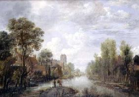 Landscape with a canal (panel)