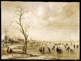 A Winter Landscape with Townsfolk Skating and Playing Kolf on a Frozen River, a Town Beyond