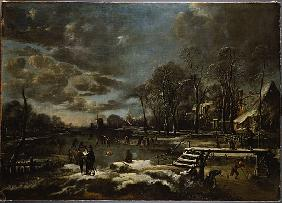 A Winter River Landscape with Figures Playing Golf and Skating