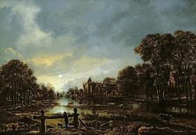 Moonlit River Landscape with Cottages on the Wooded Banks