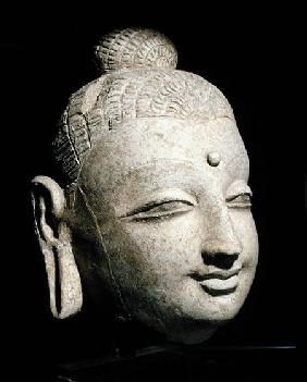 Head of a smiling Buddha, Greco-Buddhist style, from Afghanistan 1st-4th ce