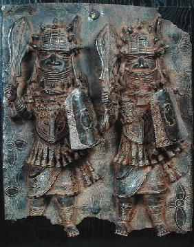 Benin plaque with two warriors, Nigeria 16th-17th