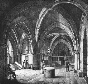 Interior view of the entrance room at the Conciergerie Prison; engraved by Alphonse Urruty (1800-70)