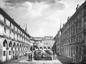 View of the Men''s Yard at the Conciergerie Prison; engraved by Alphonse Urruty (1800-70) c.1831
