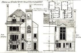 House and Studio, Steele''s Road, Haverstock Hill, from ''The Building News'',9th February 1877