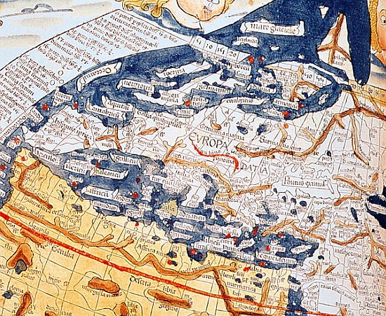 Map of central Europe, 1486 (details of - (after) Ptolemy ...