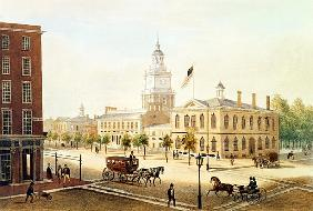 State House, Philadelphia; engraved by Deroy