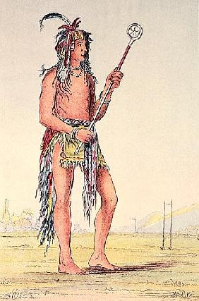 Sioux ball player Ah-No-Je-Nange, ''He who stands on both sides'' (hand-coloured litho)