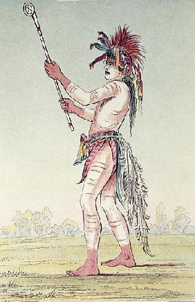 Sioux ball player We-Chush-Ta-Doo-Ta, ''The Red Man'' (hand-coloured litho)