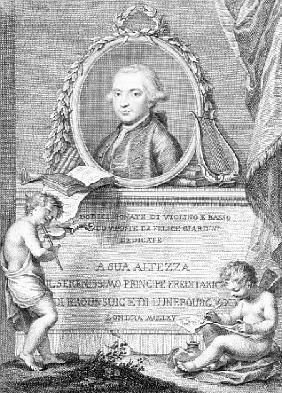 Sheet Music Cover with a portrait of Felice Giardini; engraved by Francesco Bartolozzi