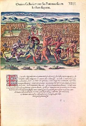 The French Help the Indians in Battle, from ''Brevis Narratio..''; engraved by Theodore de Bry (1528