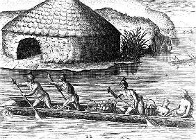 Florida Indians Storing their Crops in the Public Granary, from ''Brevis Narratio''; engraved by The