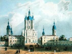 The Smolny Cloister in St. Petersburg, printed Edouard Jean-Marie Hostein (1804-89), published by Le