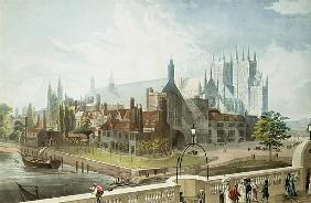 Westminster Hall and Abbey; engraved by Daniel Havell (1785-1826) published by Rudolph Ackermann (17