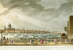 Lord Nelson''s funeral procession by water from Greenwich to Whitehall from ''The History and Graphi
