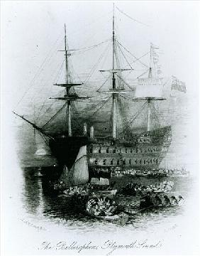 The Bellerophon at Plymouth Sound in 1815, 1834-36